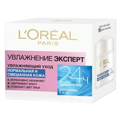 L`OREAL Увлажняющий уход Увлажнение Эксперт для нормальной и смешанной кожи 50 мл