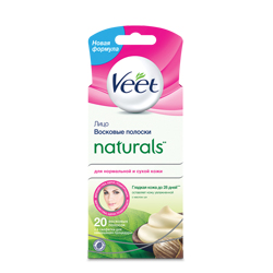 VEET Восковые полоски Naturals с маслом ши для чувствительных участков тела (лицо) 18 шт.