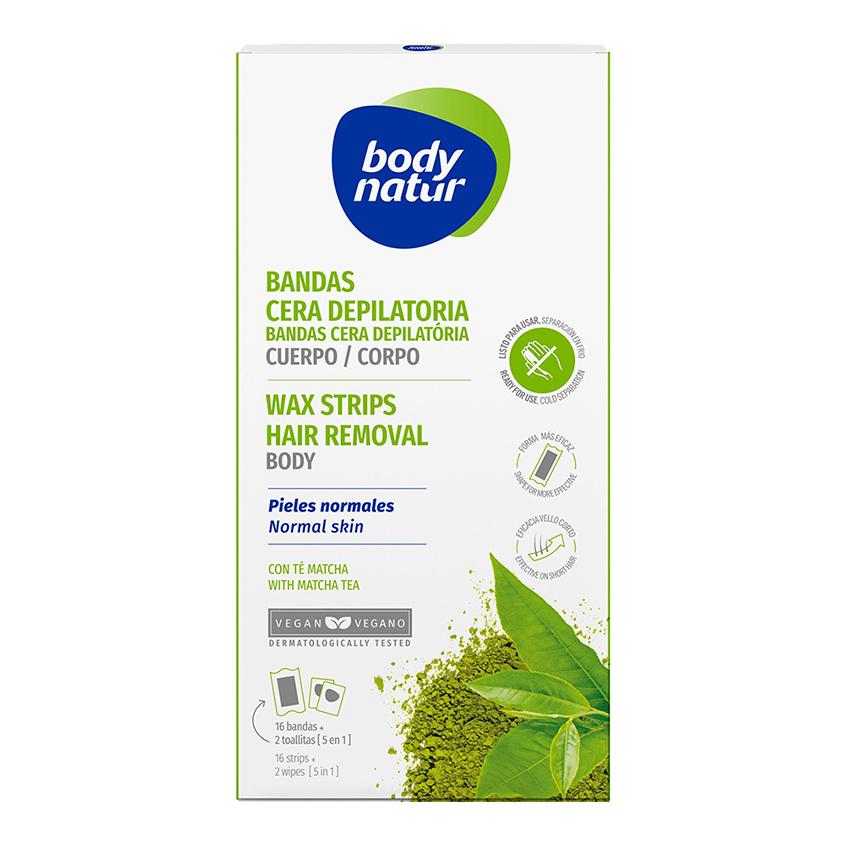 BODY NATUR Восковые полоски для депиляции тела для нормальной и сухой кожи с Экстрактом чая матча