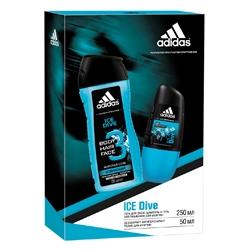 ADIDAS Подарочный набор для мужчин Ice Dive Дезодорант роликовый 50 мл + гель для душа 250 мл