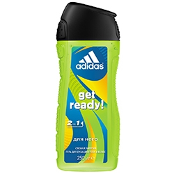 ADIDAS Гель для душа, шампунь и гель для умывания для мужчин Get Ready! 250 мл
