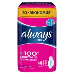 ALWAYS Ультратонкие женские гигиенические прокладки Always Ultra Super (Супер) ароматизированные 30 шт.
