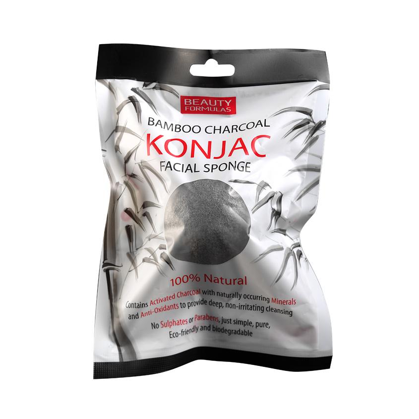 BEAUTY FORMULAS Спонж для очищения кожи лица с активированным углем Конжак