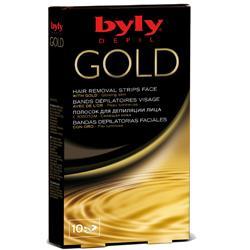 BYLY Восковые полоски для депиляции для лица с золотом