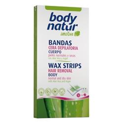 BODY NATUR Восковые полоски для тела для нормальной и сухой кожи с Алоэ и Арганом 16 шт. + 2 салфетки
