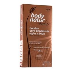 BODY NATUR Восковые полоски для бикини с экстрактом Янтаря 16 шт. + 4 салфетки до/после эпиляции