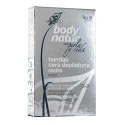 BODY NATUR Восковые полоски для лица с экстрактом Шелка и Жемчуга 12 шт. + 4 салфетки до/после эпиляции