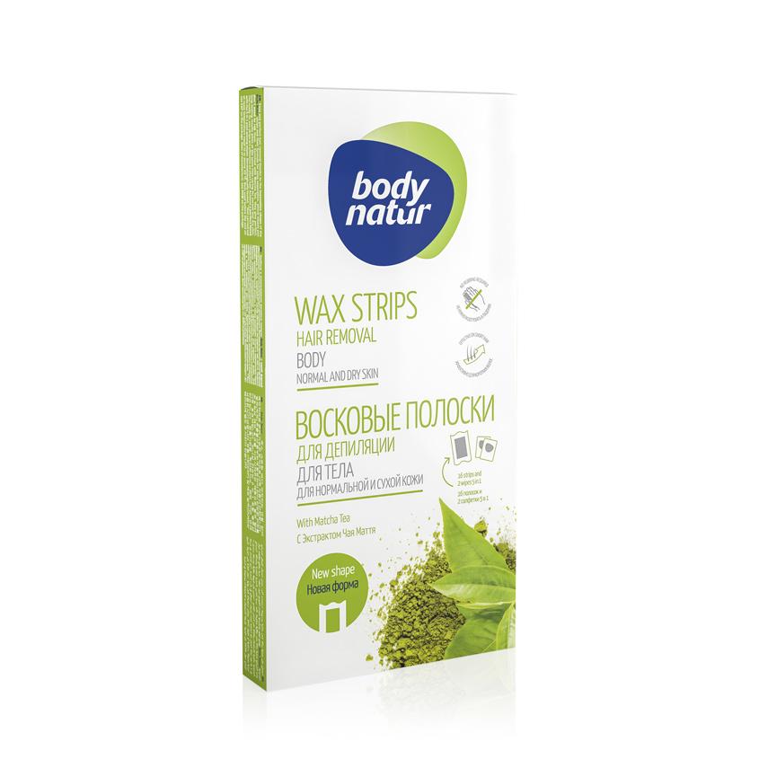 Купить BODY NATUR Восковые полоски для депиляции тела для нормальной и сухой кожи с Экстрактом чая матча