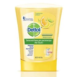DETTOL Антибактериальное жидкое мыло для диспенсера No Touch с ароматом Цитруса (запасной блок) 250 мл (запасной блок)