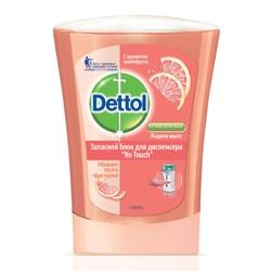 DETTOL DETTOL Антибактериальное жидкое мыло для диспенсера No Touch с ароматом грейпфрута (запасной блок) 250 мл dettol восстановление с экстрактами граната и малины антибакт жидкое мыло для рук 250 мл