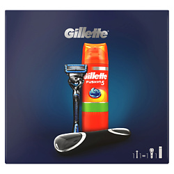 GILLETTE Подарочный набор Gillette Fusion5 ProShield Chill Станок для бритья + Сменная кассета 1 шт. + Гель для бритья 200 мл