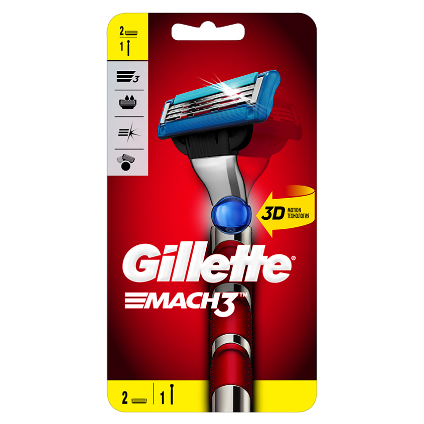 Купить GILLETTE Бритва с 2 сменными кассетами Red MACH3 Turbo 3D