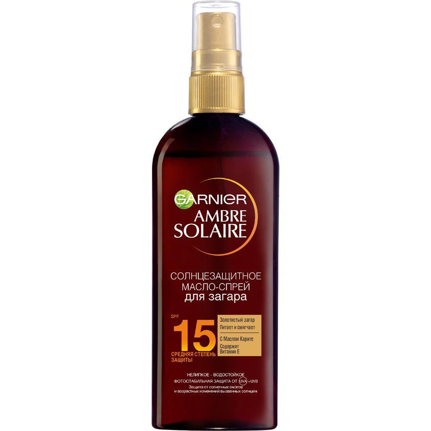 GARNIER Солнцезащитное масло-спрей для загара Ambre Solaire, водостойкое, с маслом карите, SPF 15