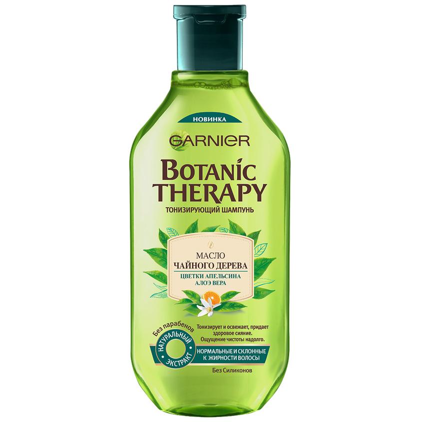 Купить GARNIER Шампунь Botanic Therapy, Масло чайного дерева, цветки апельсина, алоэ вера для нормальных и склонных к жирности волос