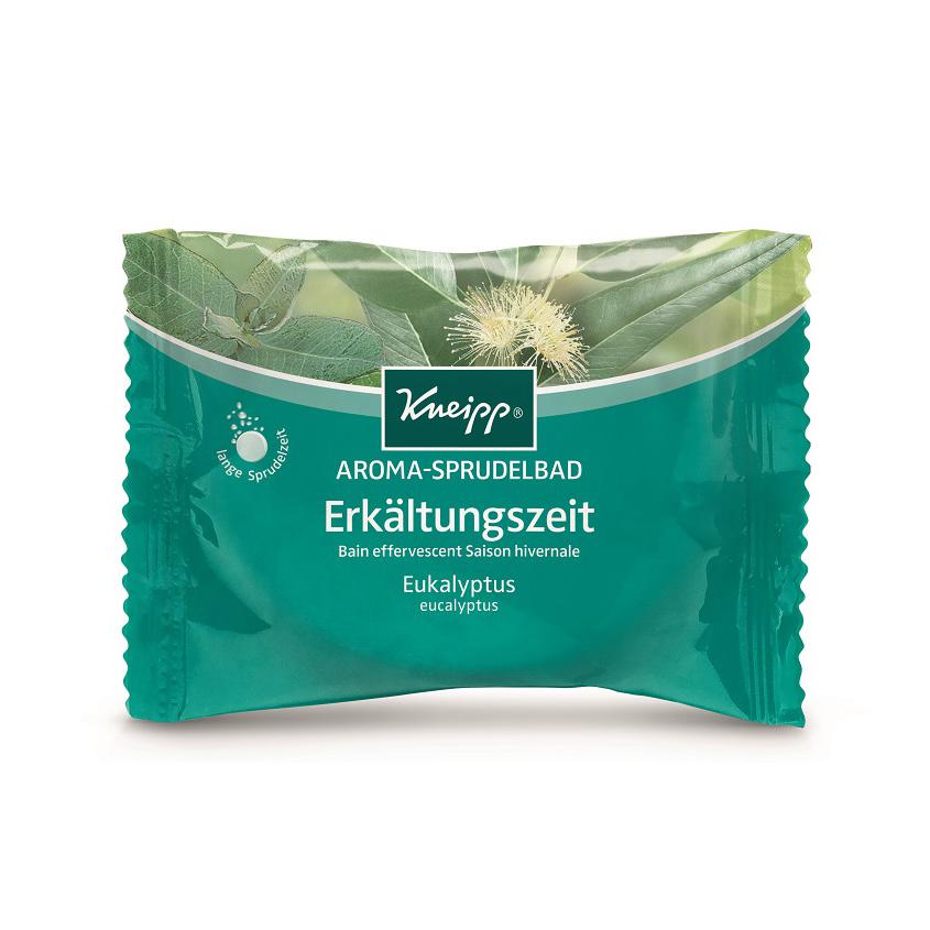 KNEIPP Бомбочка (таблетка) солевая ароматическая для жемчужной ванны с эвкалиптом при холодной погоде