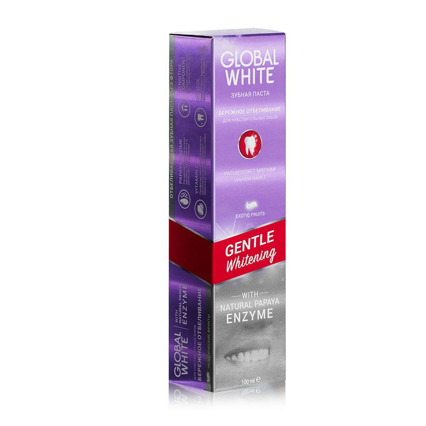 GLOBAL WHITE Зубная паста отбеливающая GENTLE Whitening
