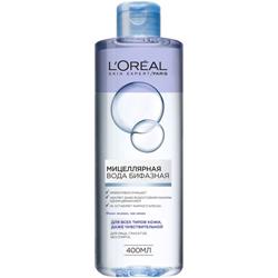 L`OREAL PARIS L`OREAL Мицеллярная вода бифазная для всех типов кожи 400 мл l oreal paris l oreal тушь для ресниц объем миллиона ресниц фаталь черная 9 мл
