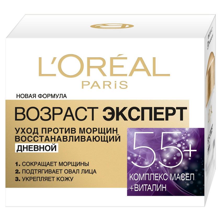 L'ORÉAL PARIS Дневной антивозрастной крем «Возраст Эксперт 55+» против морщин для лица, восстанавливающий