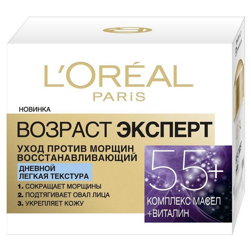 Купить L'ORÉAL PARIS Дневной антивозрастной крем Возраст эксперт 55+ против морщин для лица, легкая текстура, восстанавливающий