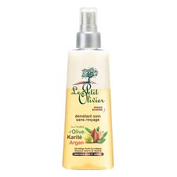 Купить LE PETIT OLIVIER Спрей для облегчения расчесывания для сухих/ломких волос с маслами Оливы, Арганы и Карите, без смывания 150 мл