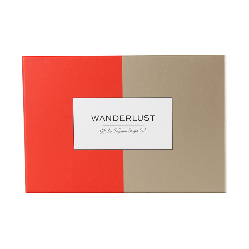 WANDERLUST Подарочный набор Saffiano Bright Red + Champagne Gold. Комплект: обложки на паспорт