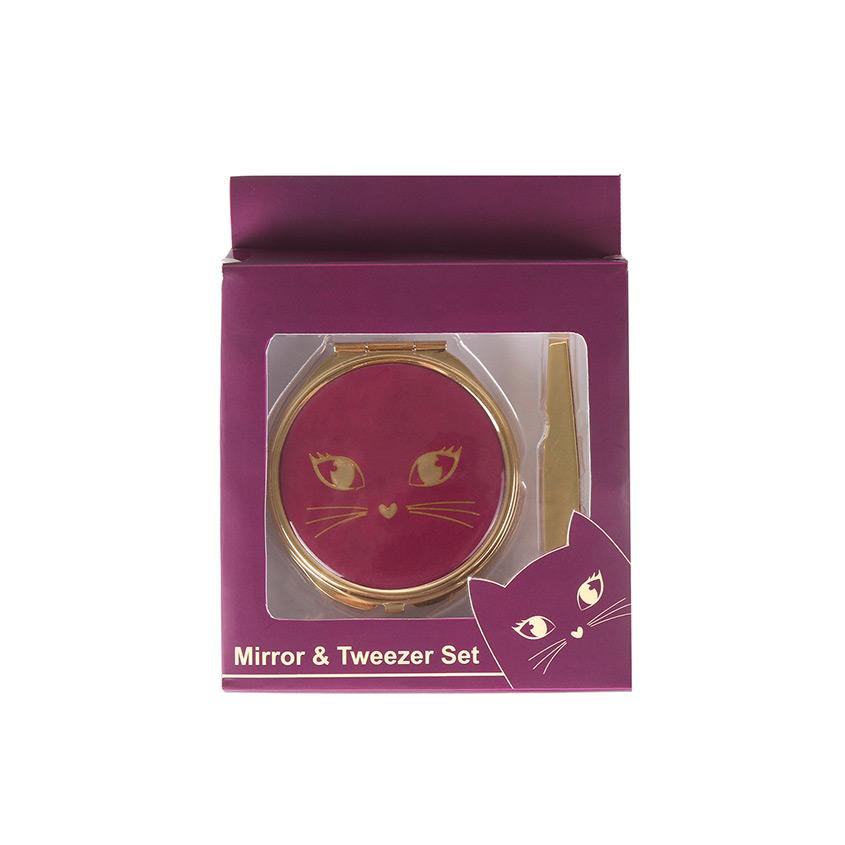 РАЗНОЕ Подарочный набор: зеркальце + щипчики для бровей Purple Kitty