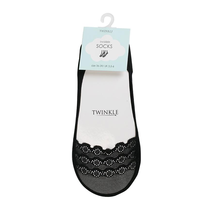 TWINKLE Кружевные следки TWINKLE, цвет: черный, форма 7