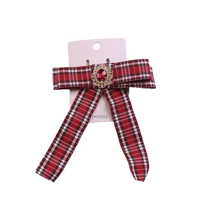 TWINKLE Заколка для волос с бантом Red Checker