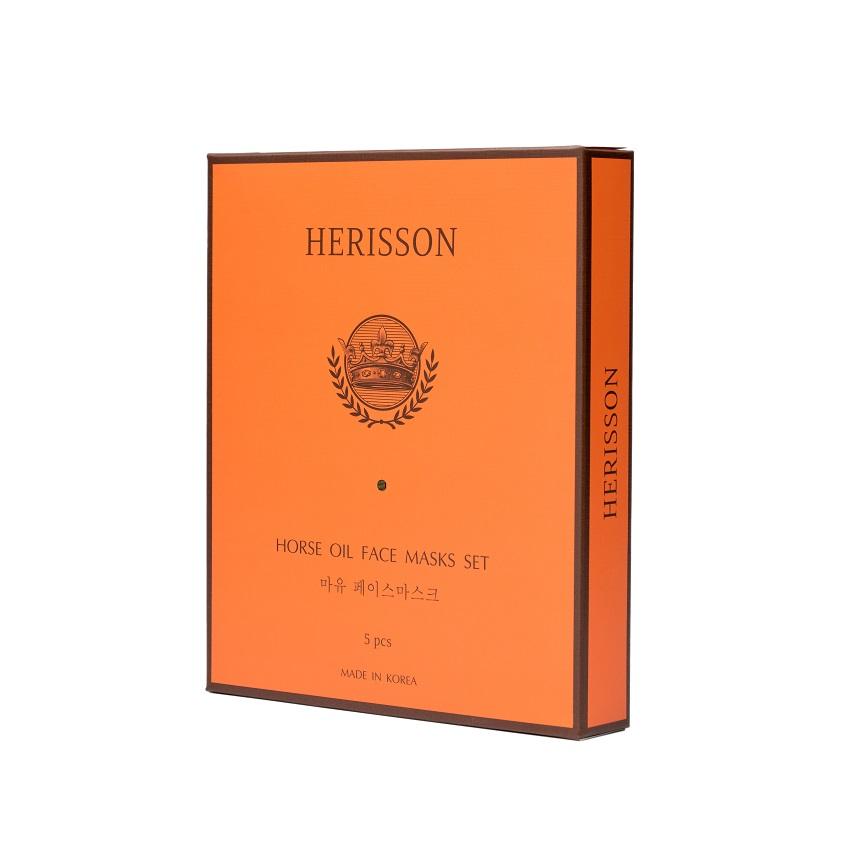 Купить HERISSON Набор питательных тканевых масок с лошадиным жиром для лица