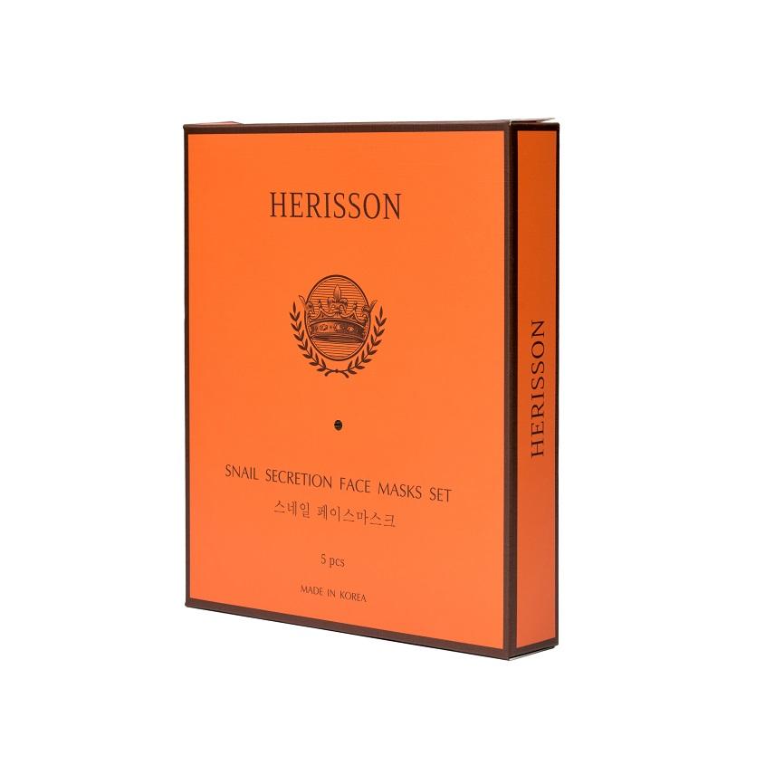 Купить HERISSON Набор тканевых масок против морщин с секретом улитки для лица