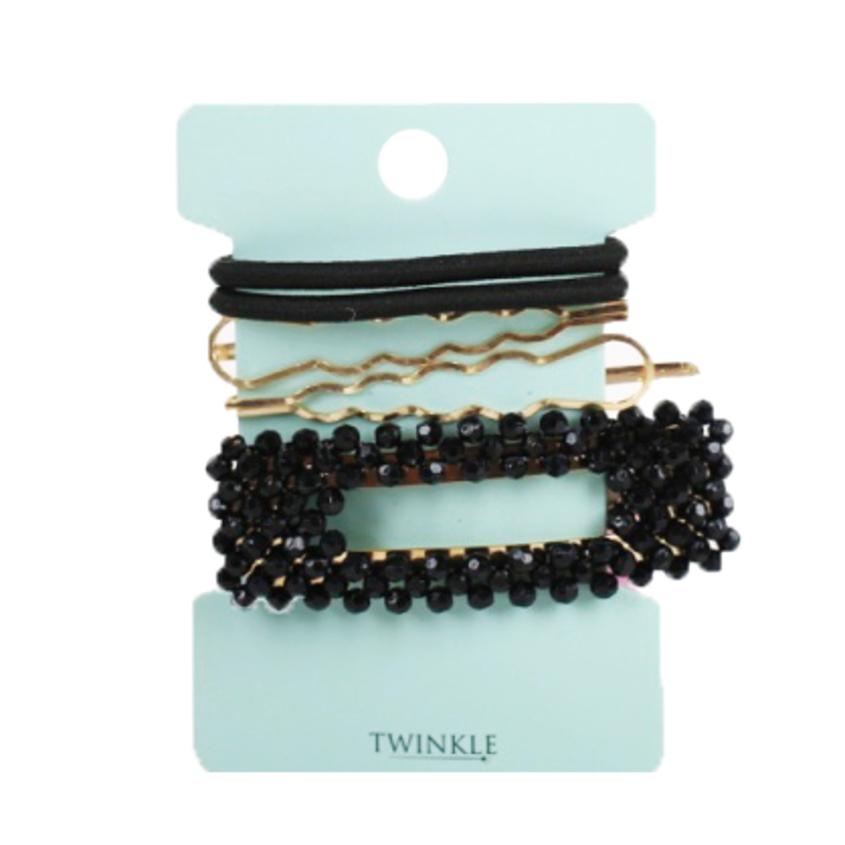 TWINKLE Набор заколок и резинок для волос Black+Gold