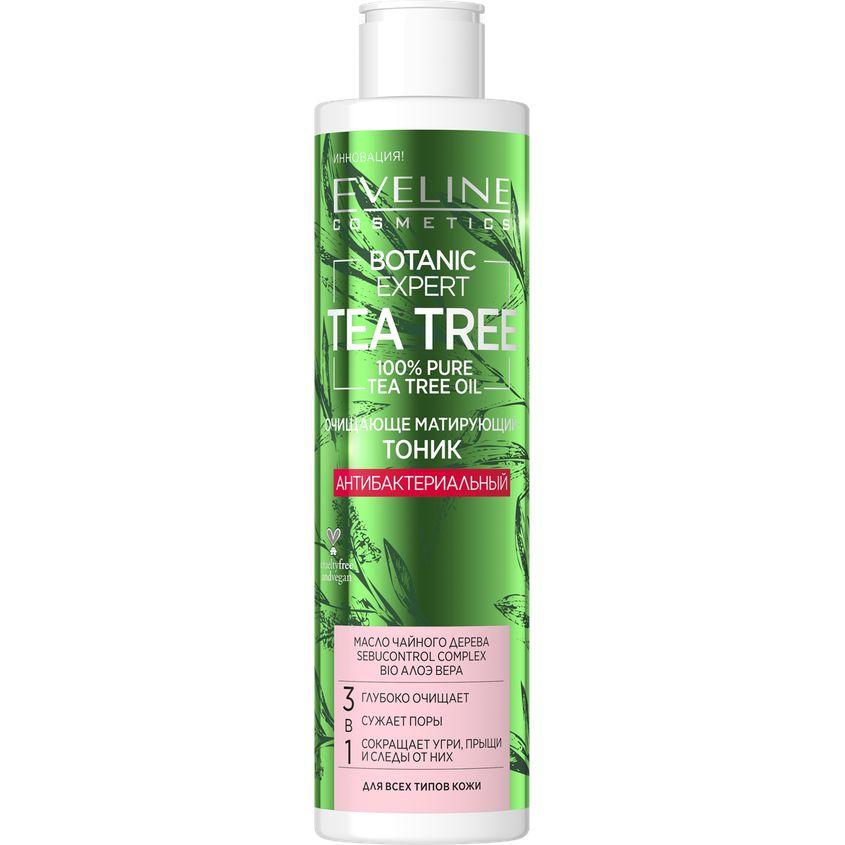 Купить EVELINE Тоник для лица BOTANIC EXPERT TEA TREE 3 в 1 антибактериальный очищающе-матирующий