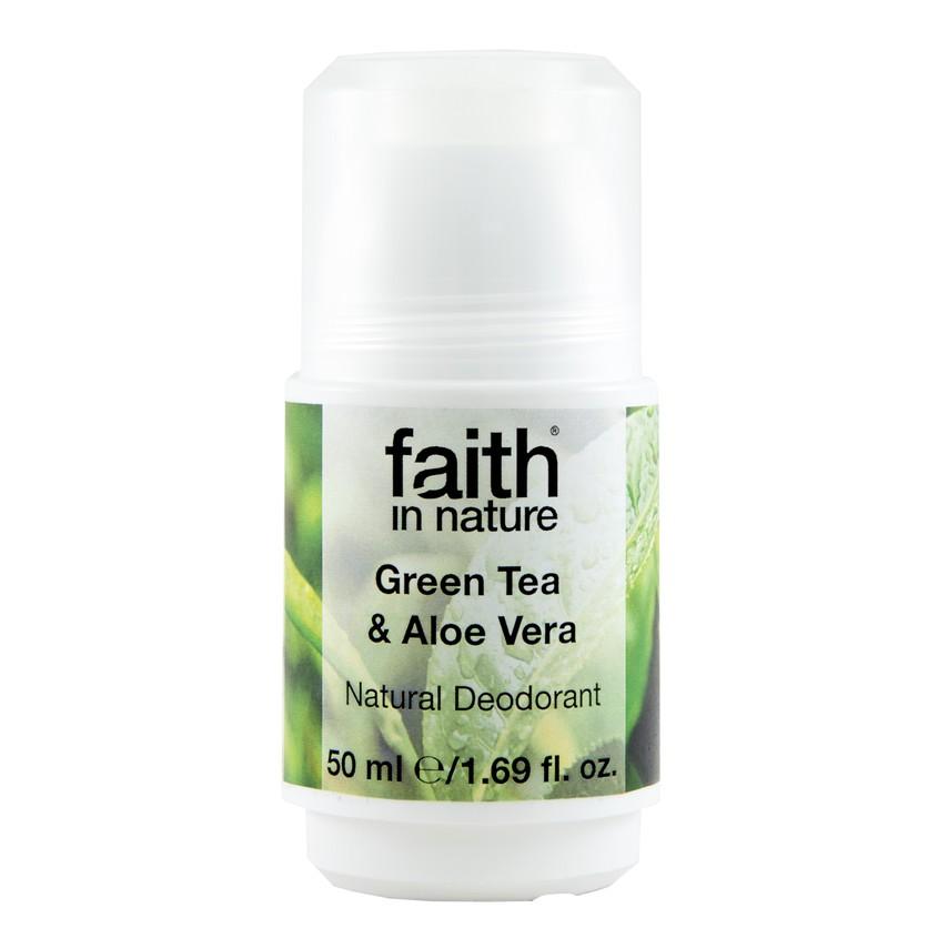 FAITH IN NATURE Део-ролл женский FAITH IN NATURE натуральный с зеленым чаем и алоэ и вера