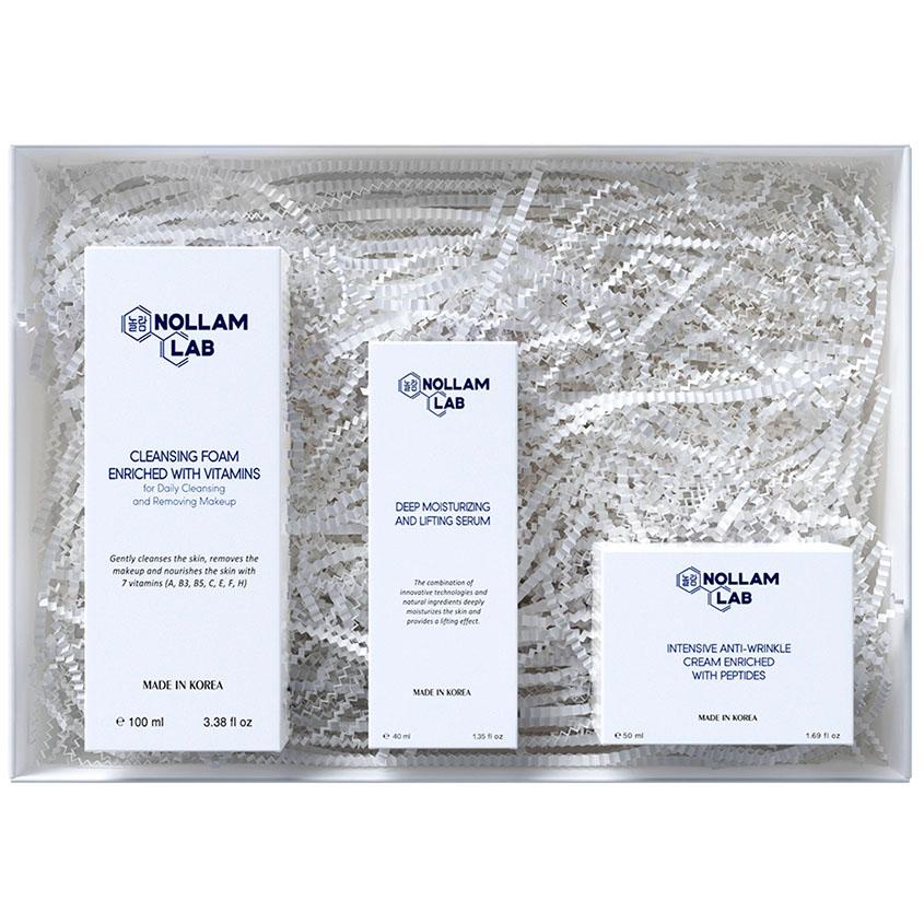 Купить NOLLAM LAB Подарочный набор против морщин; Пенка, Сыворотка и Крем против морщин