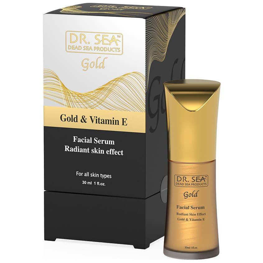 DR. SEA Сыворотка-концентрат для лица с золотом и витамином Е, эффект сияющей кожи.