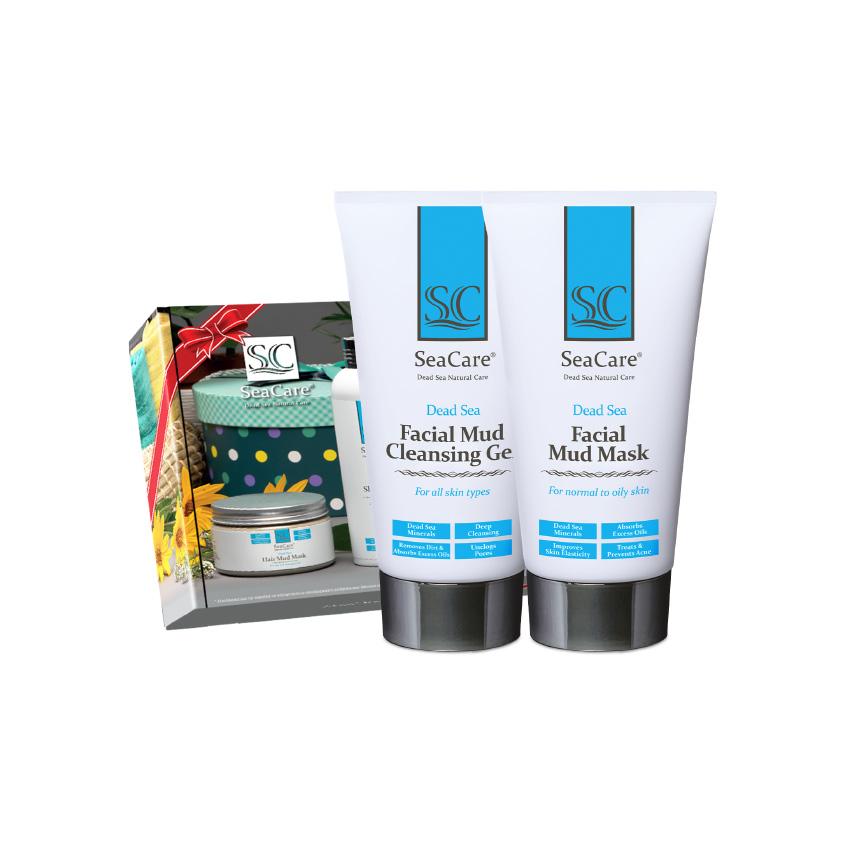 SEACARE Подарочный SPA набор №3, Грязевые маска и Очищающий гель для лица с минералами Мертвого Моря