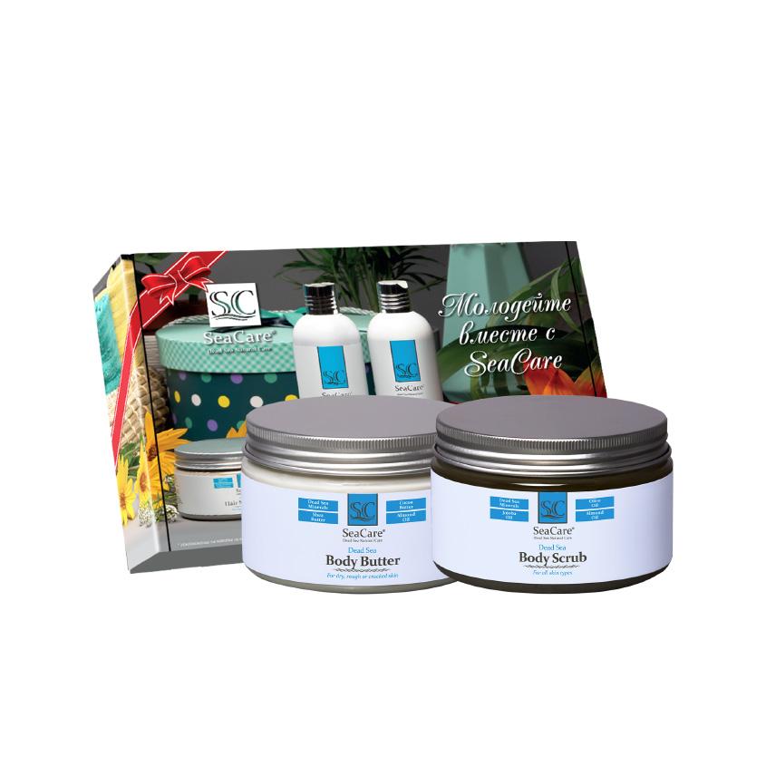 SEACARE Подарочный SPA набор №7, Омолаживающие Масло и Скраб для тела с Минералами Мертвого Моря
