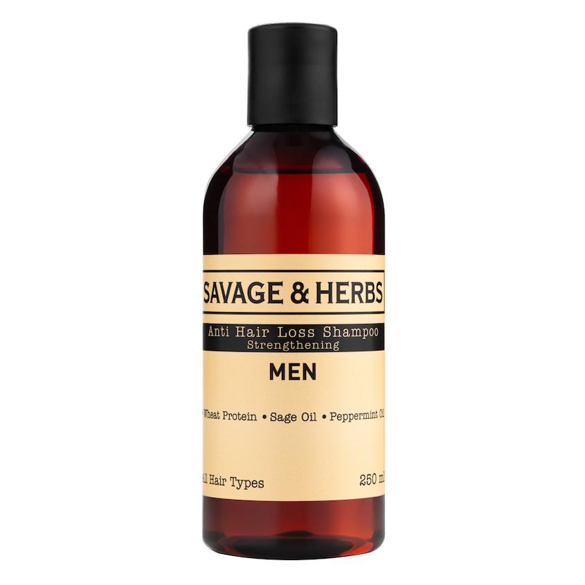 Купить SAVAGE&HERBS Укрепляющий мужской шампунь против выпадения волос с провитаминами В3, B5