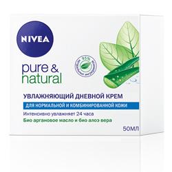 NIVEA Увлажняющий дневной крем Pure&Natural для нормальной и комбинированной кожи