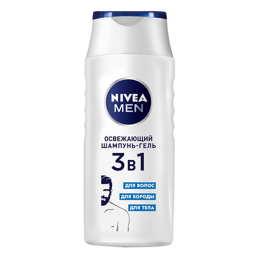 NIVEA Освежающий шампунь гель мужской для волос, бороды
