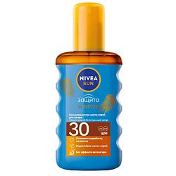 NIVEA Солнцезащитное масло-спрей для загара Защита и загар СЗФ 30 200 мл