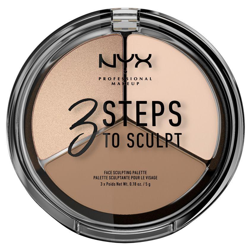 Купить NYX Professional Makeup Тройная палетка для скульптурирования. 3 STEPS TO SCULPT FACE SCULPTING PALETTE