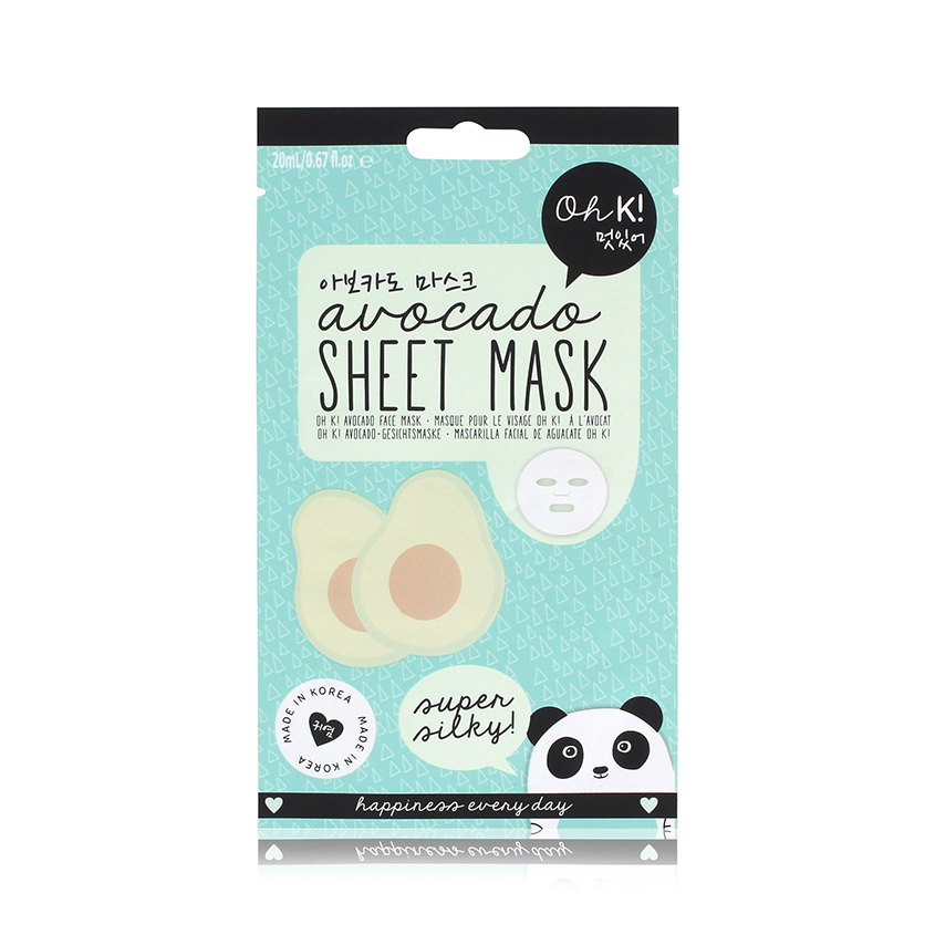 OH K! SHEET MASK — AVOCADO Маска для лица увлажняющая и успокаивающая «Авокадо»