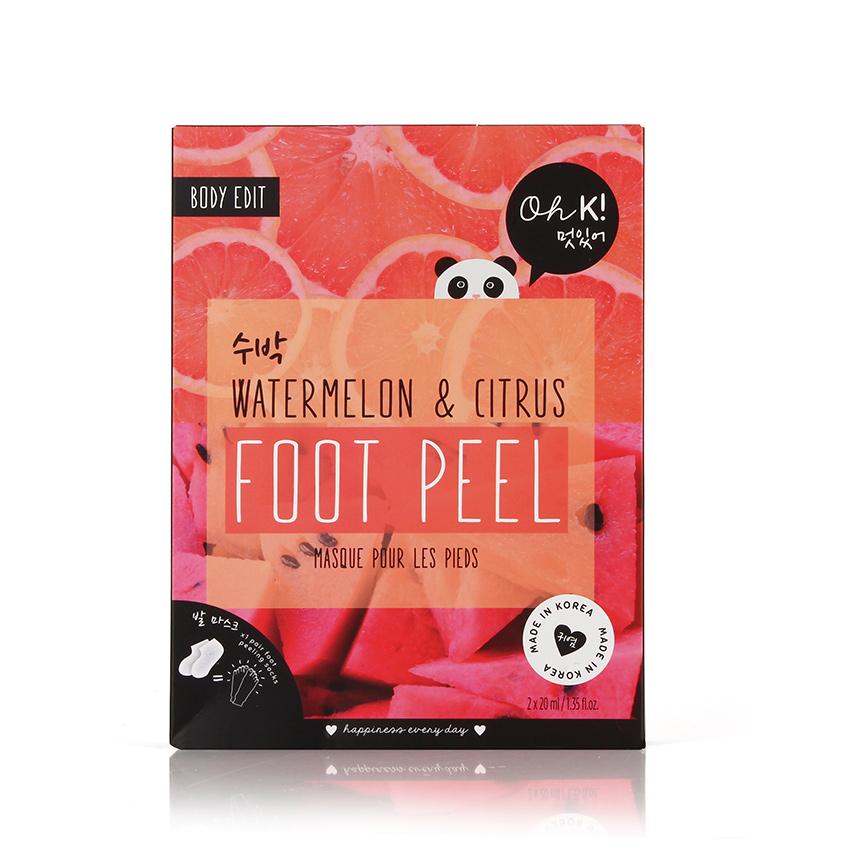 Купить OH K! WATERMELON PINK FOOT PEEL Маска отшелушивающая для гладкости и мягкости кожи Арбуз и цитрус