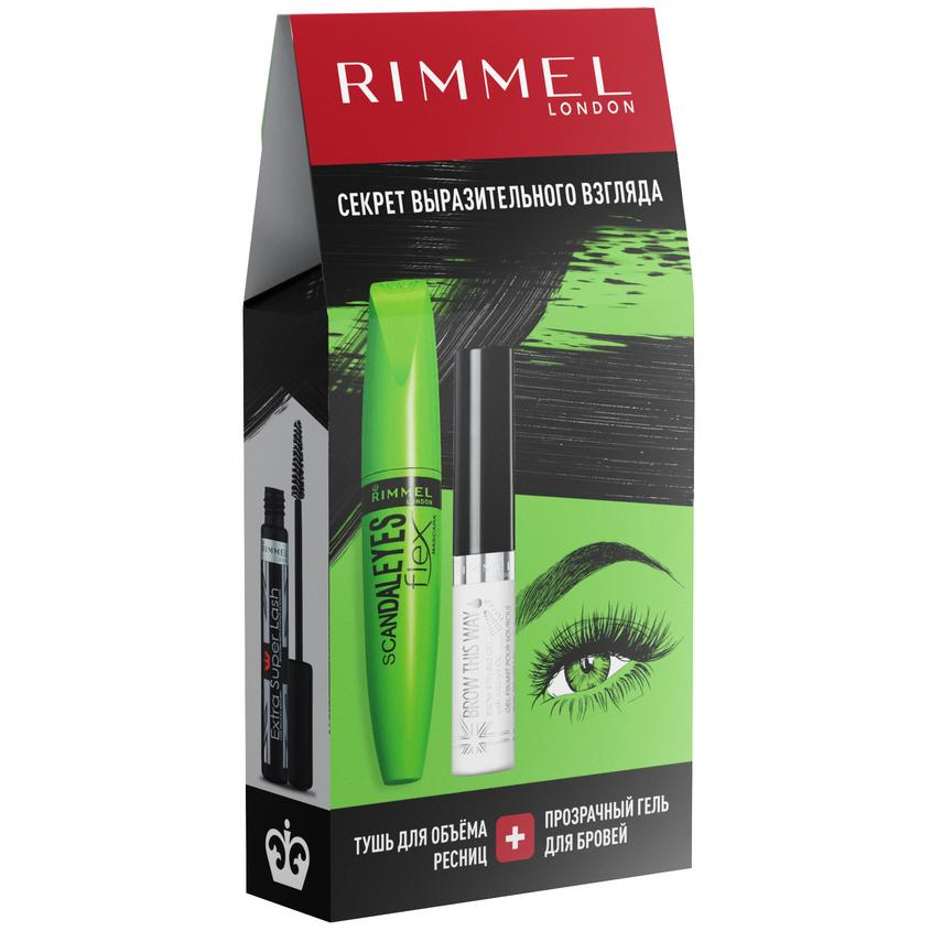 RIMMEL Подарочный набор: Тушь для ресниц Scandaleyes Lycra Flex + Гель для бровей Brow This Way
