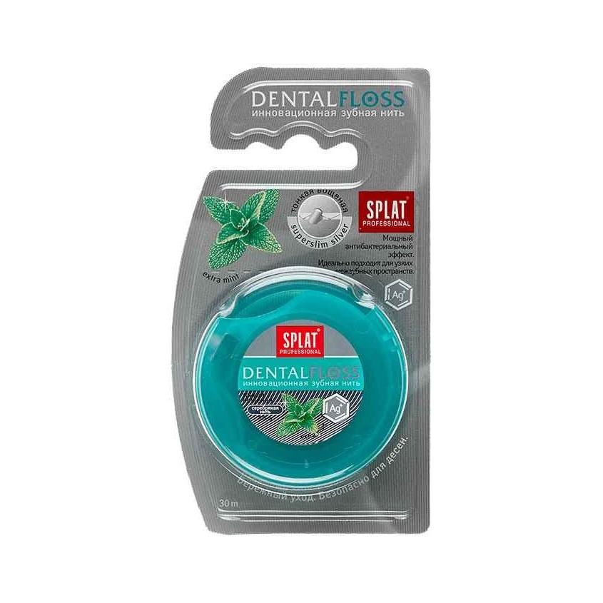 SPLAT Антибактериальная супертонкая зубная нить SPLAT Professional Dental Floss с волокнами серебра, МЯТА
