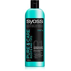 SYOSS Шампунь для волос, жирных у корней и сухих на кончиках Pure  Care 500 мл