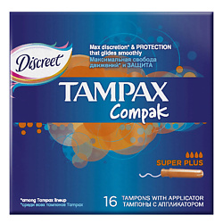 TAMPAX Compak Тампоны женские гигиенические с аппликатором Super Plus Duo 16 шт. tampax discreet pearl тампоны женские гигиенические с аппликатором regular duo 18 шт