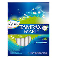 TAMPAX Discreet Pearl Тампоны женские гигиенические с аппликатором Super Duo 18 шт. tampax discreet pearl тампоны женские гигиенические с аппликатором regular duo 18 шт