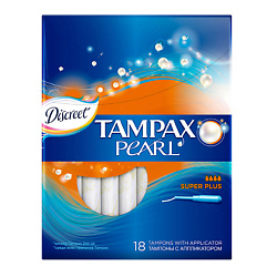 TAMPAX Discreet Pearl Тампоны женские гигиенические с аппликатором Super Plus Duo 18 шт.